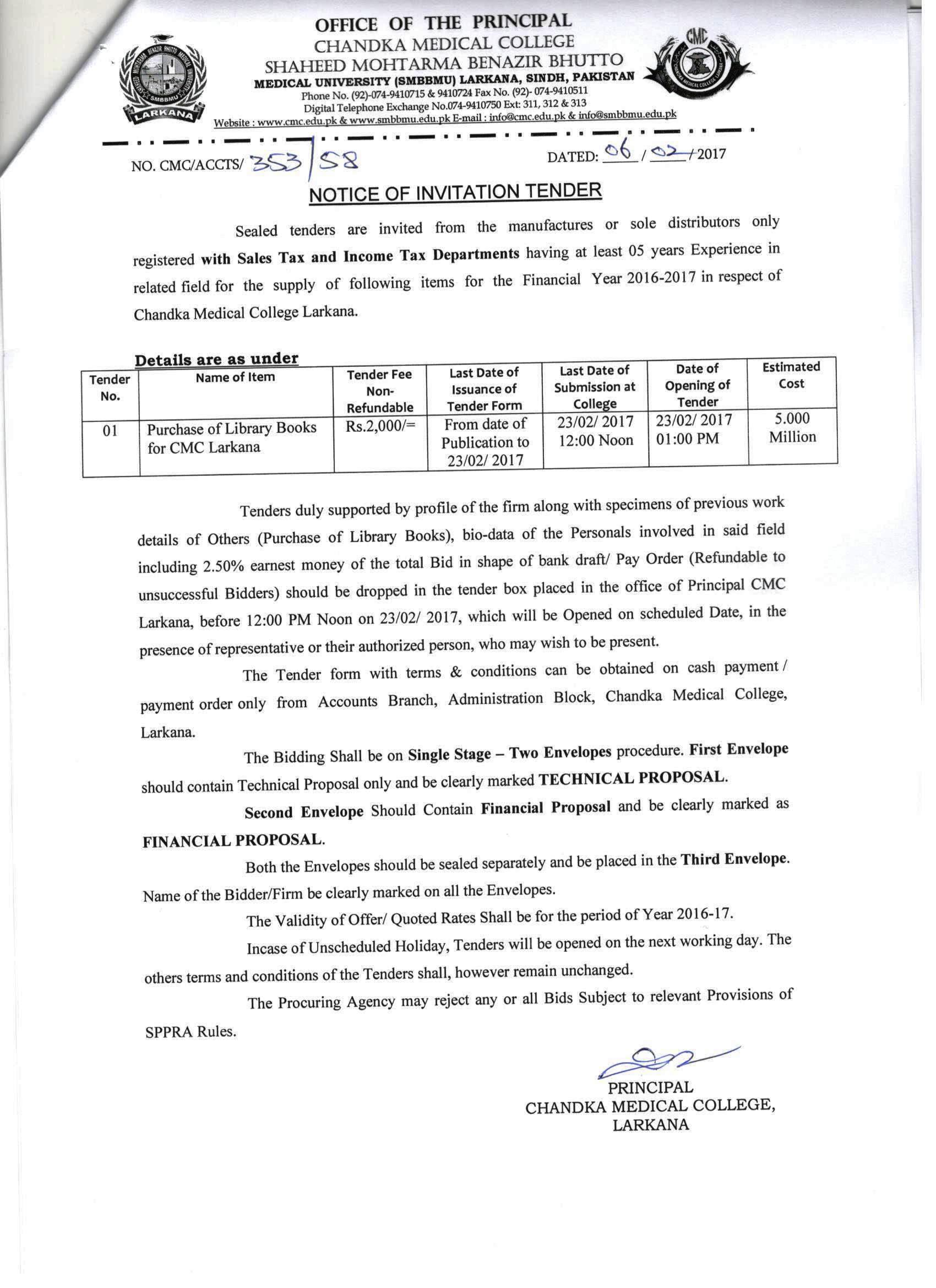 Shaheed mohtarma benazir bhutto medical university notice inviting tender for purchase of library books for cmc larkana stopboris Image collections